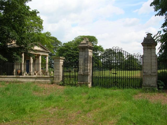 Gates to part of the Kirby Hall estate