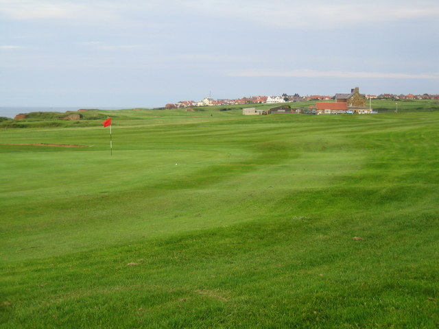 View over golf links to Whitby