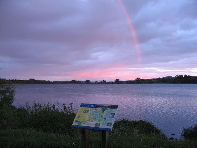 Evening rainbow at Castle Loch