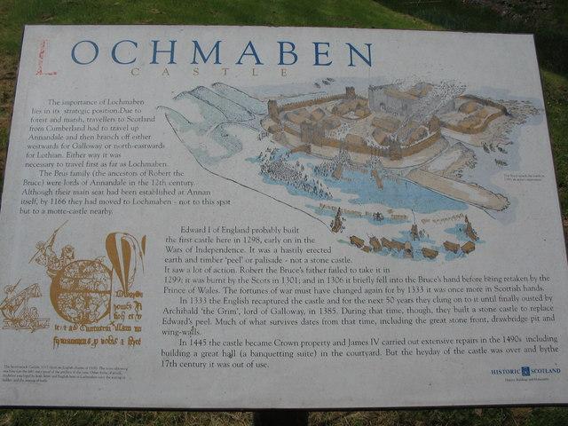 Information panel at Lochmaben Castle.