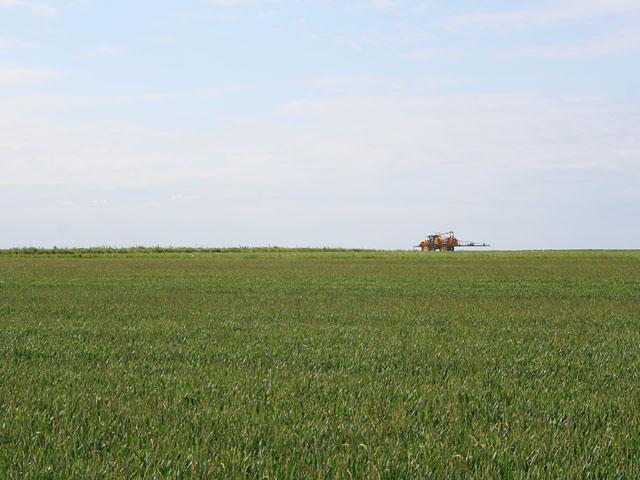 Crop spraying at Hill Farm near Snelland
