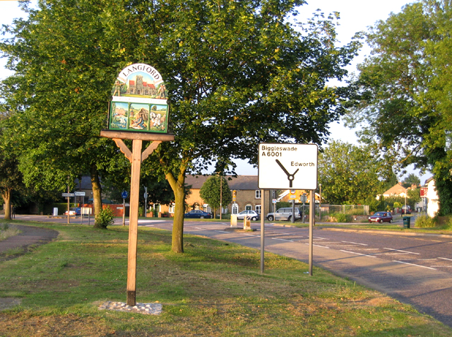 Village sign, Langford, Beds