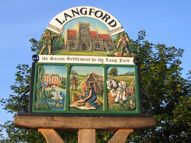 Village sign detail, Langford, Beds