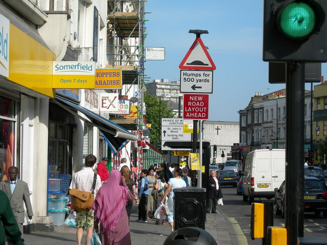A busy pavement on Harrow Road