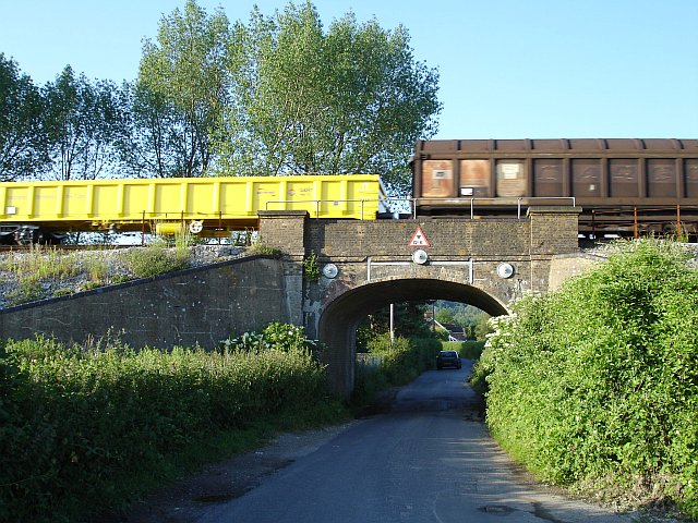 Goods train crossing Greenway Court Road