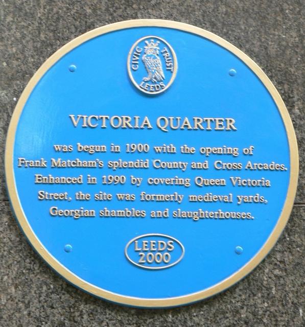 Blue Plaque, Victoria Quarter, Leeds