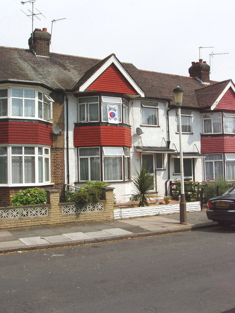 Court Way, North Acton, with Korean flag