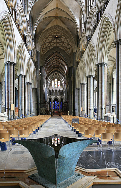 Nave of Salisbury Cathedral, with Sibirica Minor II in foreground