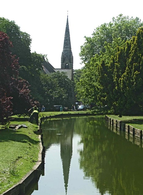New River Loop, Enfield, with Trinity Church