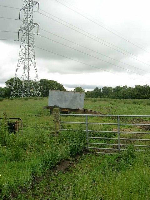 Bowser and pylon beyond Crutherland farm