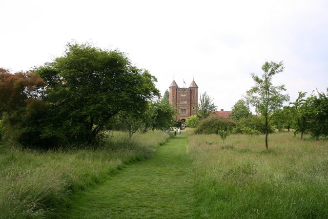 Sissinghurst - the tower from the orchard