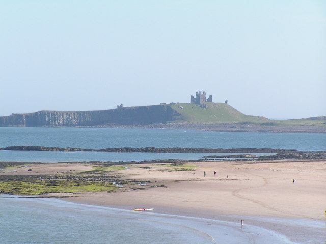 Southern half of Newton Haven, with Dunstanburgh Castle in the background