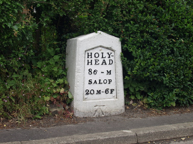 Milestone on the route of the old A5