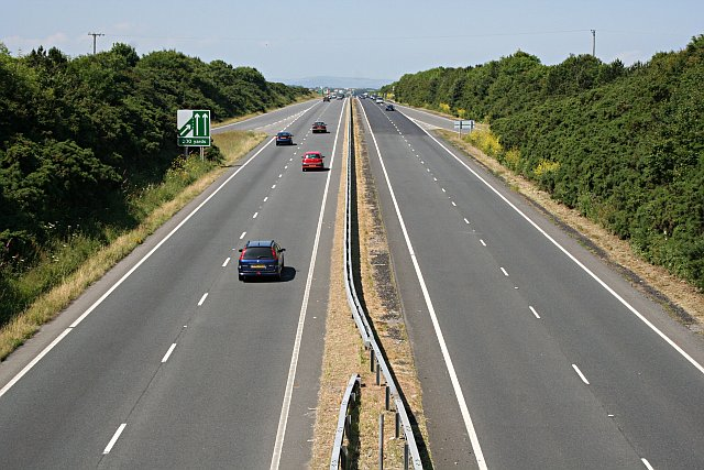 The A30 northwest of Camborne