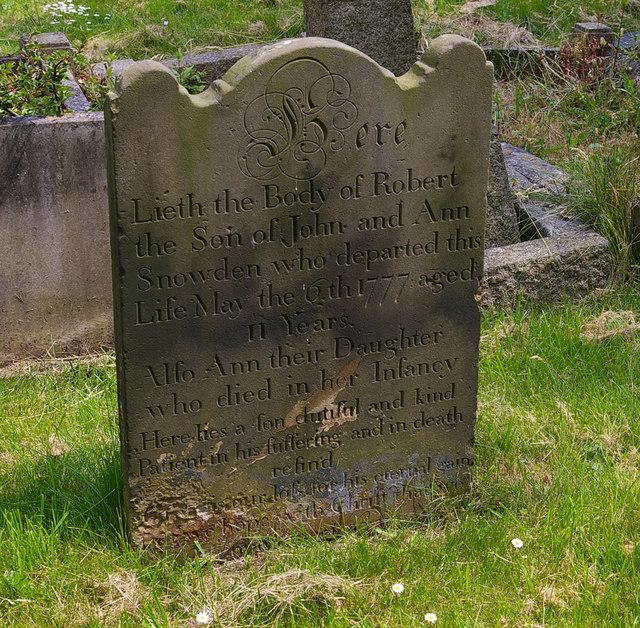 Tombstone of Robert Snowden, died 6th May 1777, aged 11
