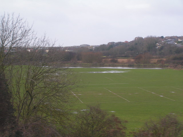 Flooded School playing fields, near West St. Leonards station.