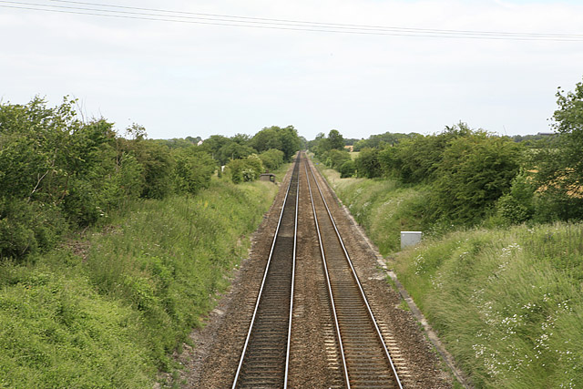 Salisbury-Andover railway lines seen from bridge over A338 near Ford village