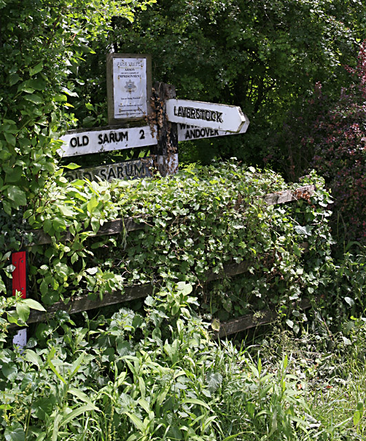 Overgrown signpost in Ford village, nr Salisbury