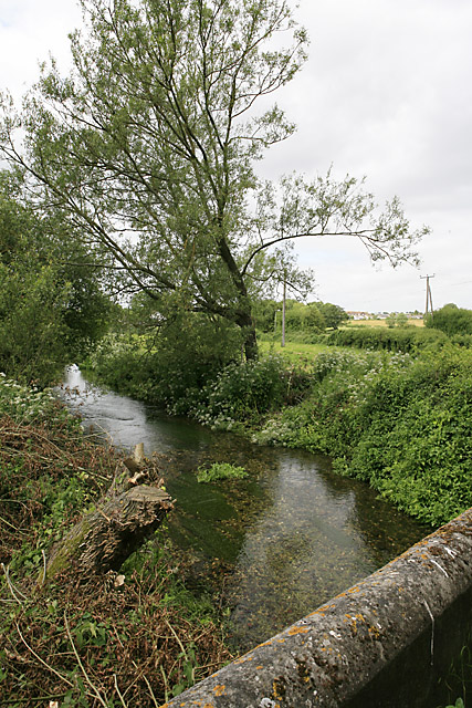 River Bourne downstream of the road bridge in Ford village