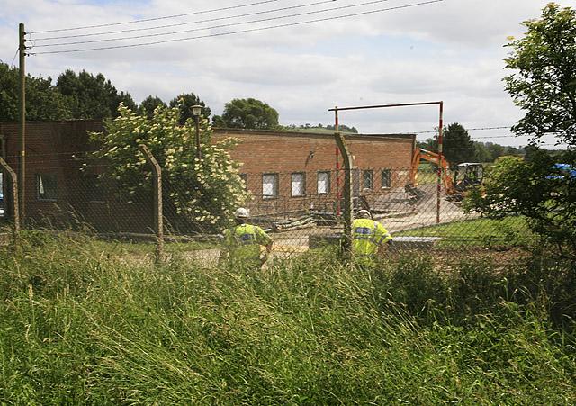 Sewage treatment works above Hurdcott