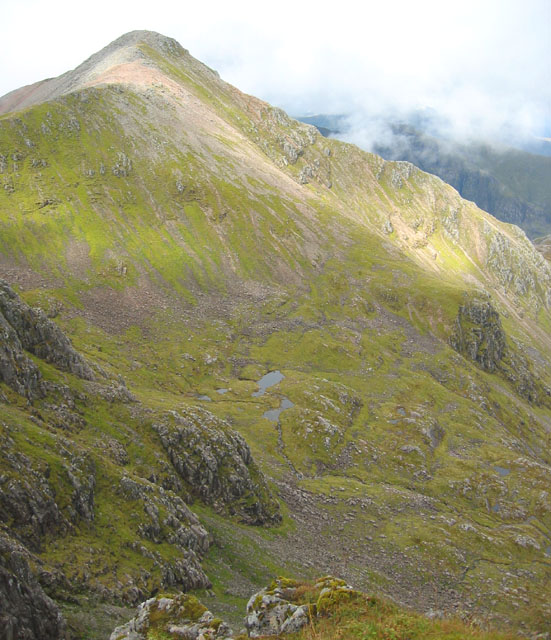 Stob Coire nan Lochan, rising from a lochan-studded  valley