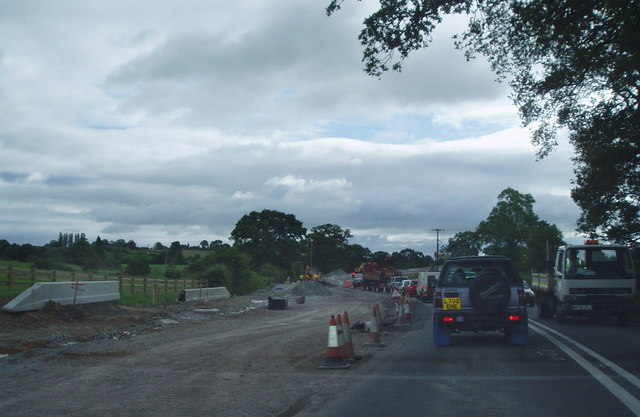 Roadworks on the A525 near Whitchurch