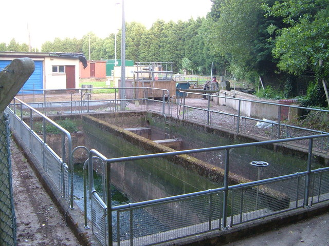 Settlement tanks, sewage works at Buckerell Cross