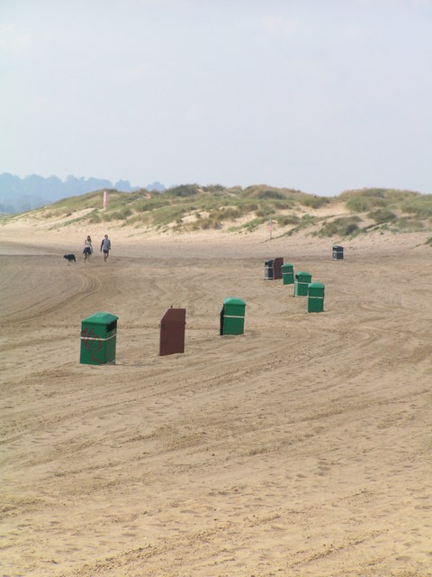 Litter Bins on the beach at Camber
