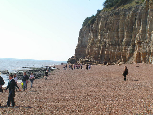 Students on the beach, below Fairlight Head.
