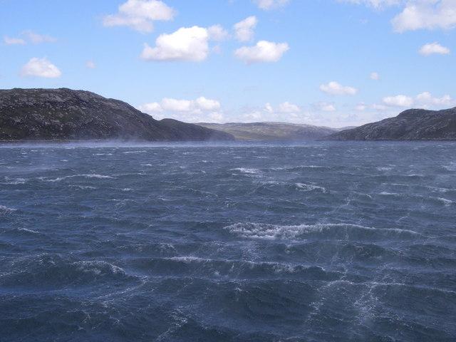 Entering Loch Reasort into the teeth of a Gale.