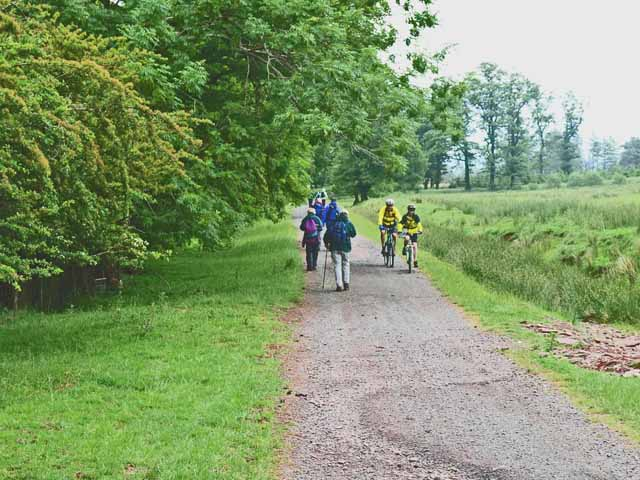 Cyclists and ramblers near Forest Lodge