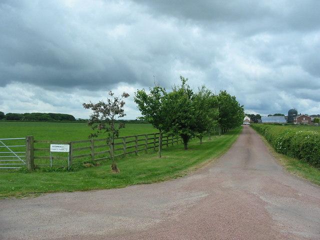 Driveway leaving Hurrell Lane to Charity Farm
