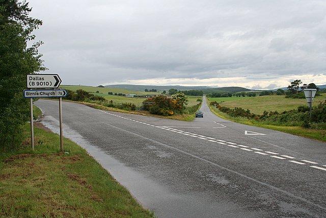 Turn off for Birnie kirk, Morayshire.