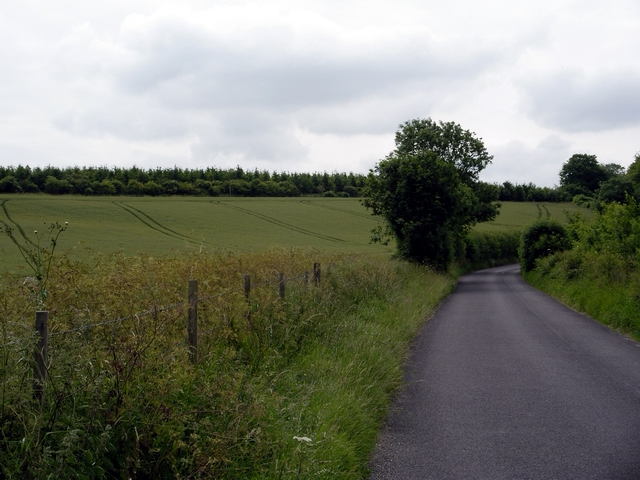 Country road, fields and woodland, north of East Winterslow