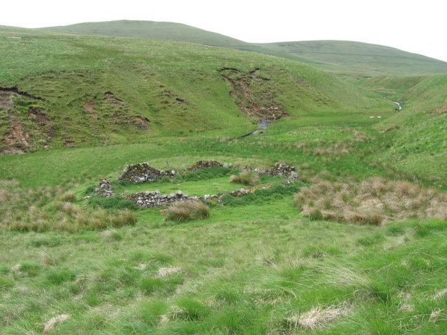 Old sheepfold by the junction of Bain's Burn and Duneaton Water