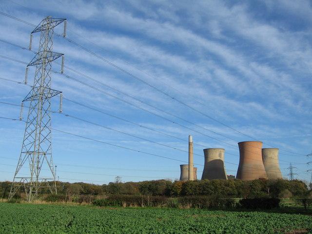 Farmland and Drakelow Power Station, near Walton-on-Trent, Derbyshire