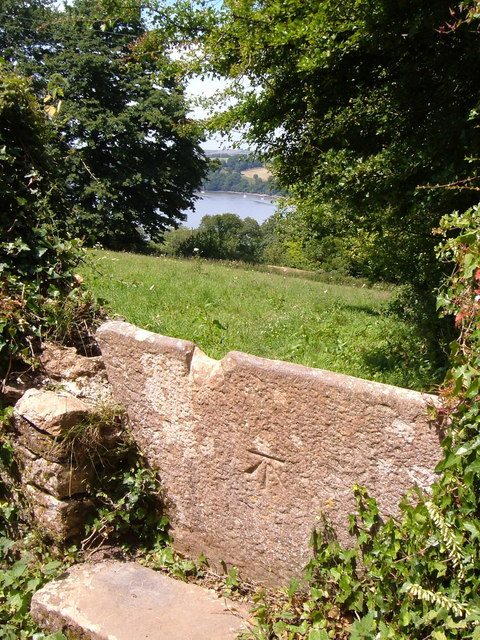 Benchmark on stone stile, Greenway Road