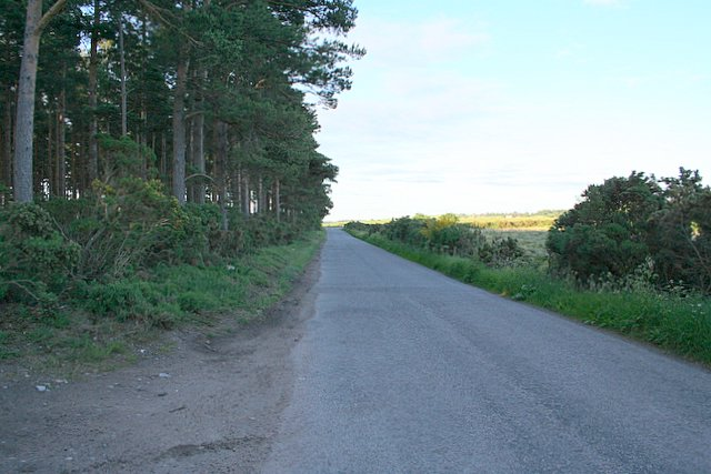 In the distance this unclassified roads meets the A941, Elgin to Rothes road.