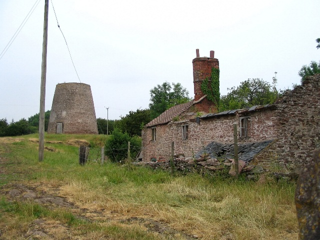 Old windmill and derelict buildings