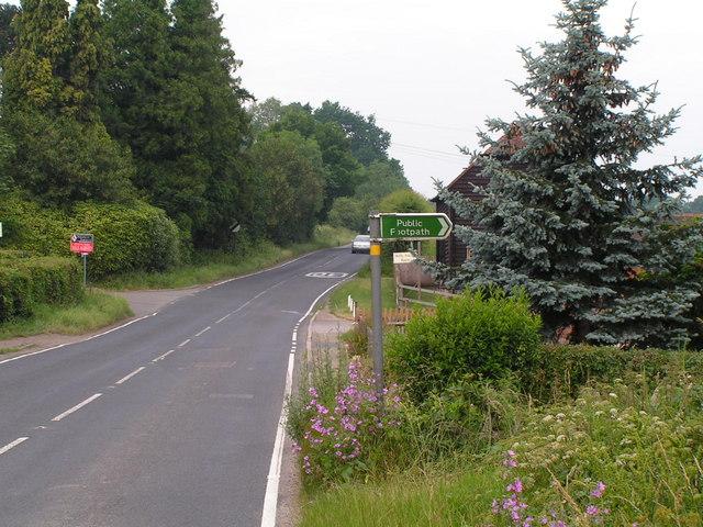 Public footpath leading off the B2017, East of Tonbridge.