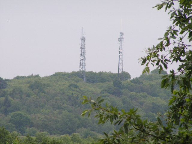 Masts on top of Castle Hill, near Pembury.
