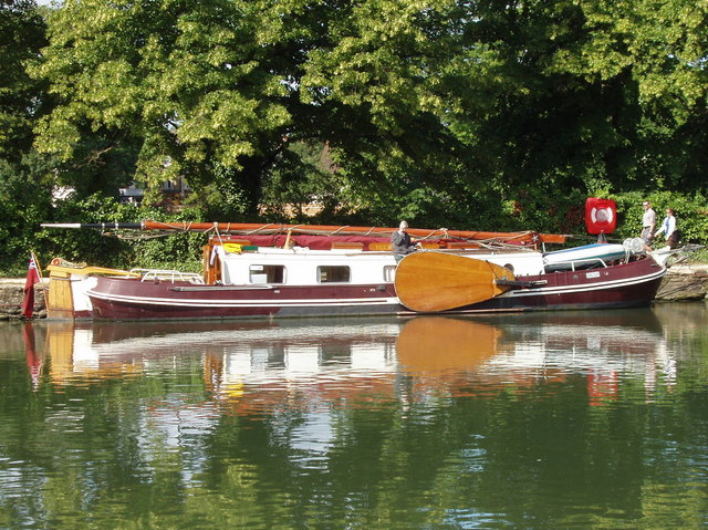 Sailing barge with leeboard,  on The Thames at Oxford