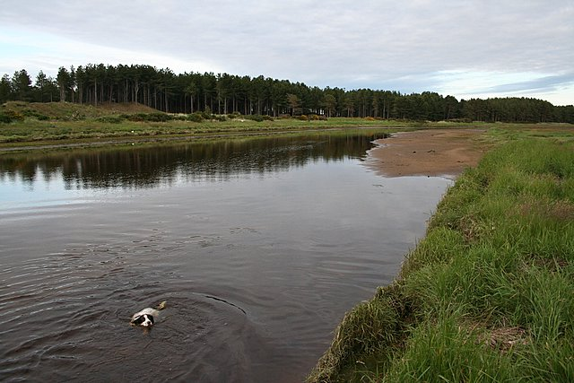 The tidal area of the river Lossie extends for a mile upstream.