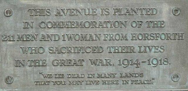 Plaque on War Memorial, Stanhope Drive, Horsforth