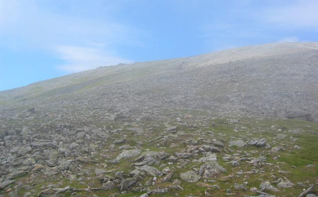 Bwlch Cyfryw-drum: view north to Carnedd Llewelyn summit