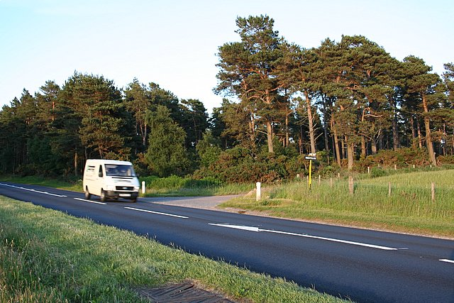 The Morayscairn turn  off on the busy A96 by Alves Woods.