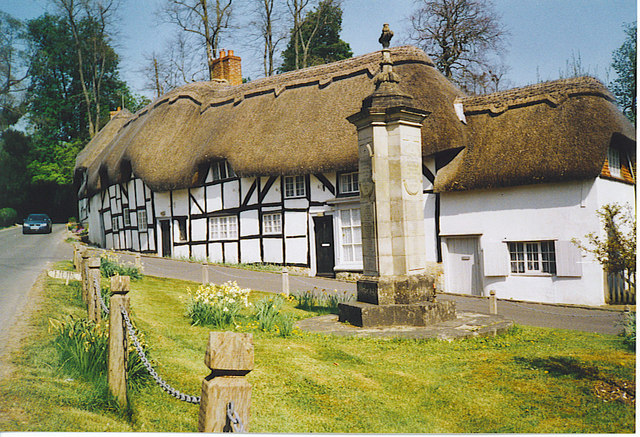 War Memorial and Thatched Cottages, Wherwell.