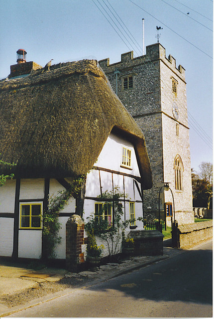 Thatched Cottage and Church Tower, St Mary Bourne.