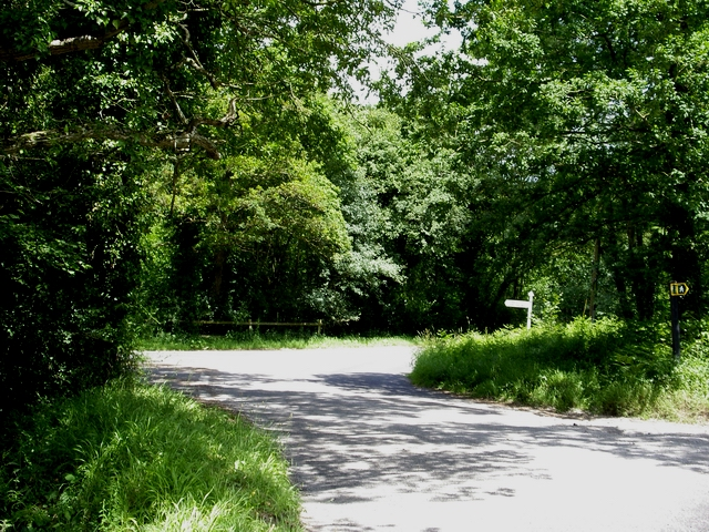 Road junction at western edge of  Bentley Woods