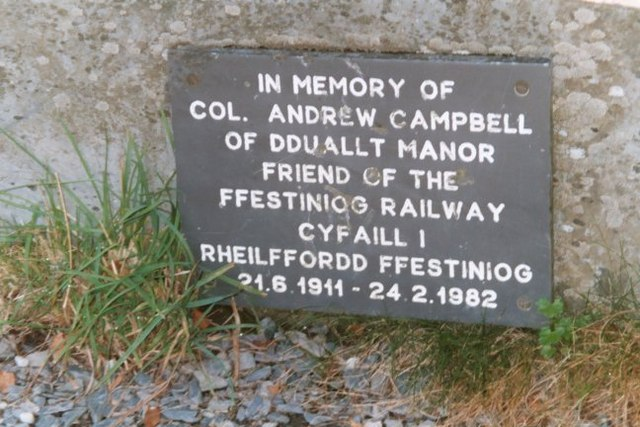 Slate plaque in memory of Colonel Campbell at Dduallt Station